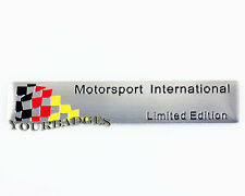 Brushed Aluminium German Flag MOTORSPORT INTERNATIONAL Car badge VW Audi