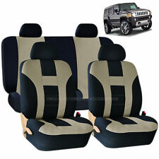 BEIGE & BLACK  DOUBLE STITCH SEAT COVERS 8PC SET for HUMMER H1 H2 H3