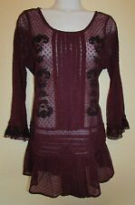 Free People L Boatneck Top 3/4 Sleeves Plum Mesh/lace with design 6 button back