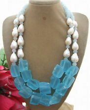 R051707 Bead-Nucleated Pearl&Blue Quartz Rough Necklace