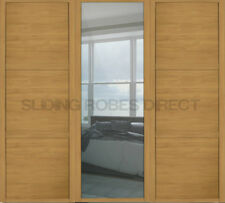 3 Shaker Style (W) 610mm (Windsor Oak) Sliding Mirror Doors-to fit width 1680mm