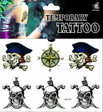 Skull Tattoo 1 Bogen Fake Tattoo einmal  tatoo tatto temporary Totenkopf Piraten
