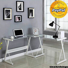 Home Office White L Shape Desk Frame Clear Glass Top Corner Computer Work Table