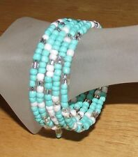 Turquoise White & Crystal Beaded Wrap Coil Bangle Bracelet USA Made- Glass Beads