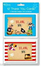 12 pirate merci cartes enveloppes anniversaire party girl boy kids