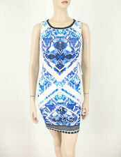 Peach Puff Ripple Printed Dress Electric Blue White Stretch Knit S $68 9002 BM9
