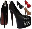 Ladies Stiletto Spiked High Heel Concealed Platform Court Shoes Women Boot Pumps