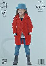 KNITTING PATTERN Childrens/Ladies Hooded Cable Coat with Pocket Chunky KC 4089