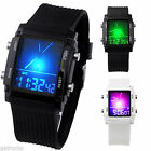 Square Digital LCD Sport Watch Dual Time Date Day Alarm Stopwatch Wristwatch Hot