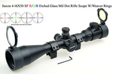 Free Ship Saxon 4-16x50 SF R/G/B Etched Glass Mil Dot Sniper Rifle Scopes
