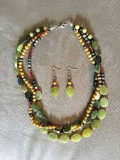 Handmade Three Lines Natural Stones Serpentine Jade Necklace & Earrings Set