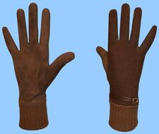 NEW WOMENS size 8 GENUINE BROWN SUEDE LEATHER BELT CASHMERE LINED GLOVES