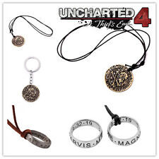 Hot Game Uncharted 4: A Thief's End Logo Metal Neckalce/Keychain/Ring 4pcs/set