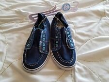 NEW NWT THE CHILDREN'S PLACE Boy's Sz 1 Blue Canvas Slip On Shoes