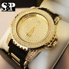 Men Luxury Hip Hop Iced Out Gold Finished Techno Pave Rapper's Rubber Band Watch
