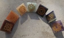Set of 7 pyramid chakra stones ~ engraved with the 7 chakra symbols