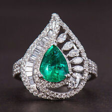 18ct White Gold Stunning Natural Emerald and Diamonds Cocktail Ring VVS