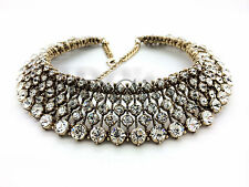 Vintage Beaded Crystal Chunky Statement Necklace USA SELLER