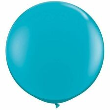 "(2) Qualatex 3 ft Tropical Teal Round Latex Rubber Large Jumbo Big 36""In Balloon"