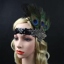 Black Peacock Feather Headpiece Vintage Headband Flapper Fancy Dress Party