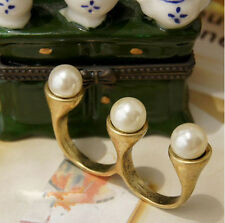 R1106 New Charming Fashion Vintage Cocktail Pearl Two Finger Rings Bronze
