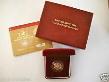 2002 ROYAL MINT ST GEORGE SOLID 22K GOLD PROOF HALF SOVEREIGN COIN BOX COA