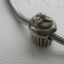 PANDORA Sterling Silver & 14k Gold CUP CAKE CUPCAKE CHARM 790417 925 ALE