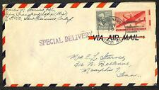 SCOTT #820 & C25 PREXY & AIRMAIL STAMPS SPECIAL DELIVERY COVER NAVY CANCEL 1949