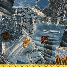 BIKER BLUES cotton fabric sewing and quilting BLUE PATCHWORK blue jean print