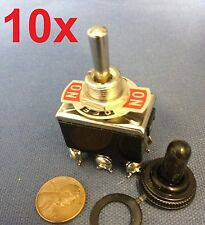 10 Pieces - Black Waterproof boot cap DPDT momentary Toggle switch 10x ON/OFF/ON
