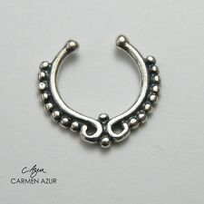 Sterling Silver 925 Nose Ring Septum Clip Non-Piercing Indian Style New Gift Bag