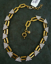 "NWT J. CREW CRYSTAL TRIANGLE LINK NECKLACE RHODIUM & GOLD PLATED 16""L x 1/2"""