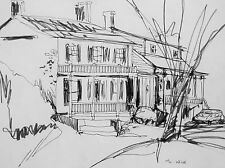 MARRY LOU WISE - THE STEWART HOUSE - DRAWING C.1950 - FREE SHIP IN US !!!