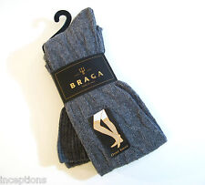 Braga Italy Ladies OVER Knee Socks Merino Wool Cashmere Blend Cable Grey - NEW