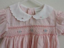 Carters Smocked Pink Dress Plaid Floral Flowers Party Church 12 Months Baby Girl