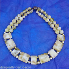 Vintage Costume Jewelry Beige/Tan Transparent Marbled Mod Collar Necklace