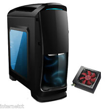 AVP VENOM BLACK ATX mATX PC TOWER CASE - 500W SATA PSU - SIDE WINDOW & BLUE LED