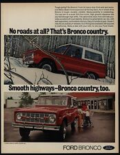 1971 FORD BRONCO Red SUV 4X4 Truck - 4 Wheel Drive - Bronco Country - VINTAGE AD