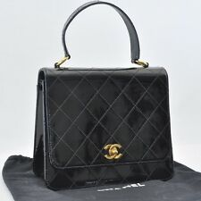 Authentic  CHANEL Enamel Matelasse Hand Bag Black CC #S3792