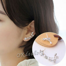 Fashion Asymmetry Women Pearl Star Earrings 925 Silver Plated Ear Studs Jewelry