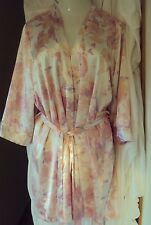 Linea Donatella Light pink print Satin Robe size L/XL Long Sleeves