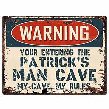 PP2682 WARNING ENTERING PATRICK'S MAN CAVE Chic Sign Home Store Decor Funny Gift