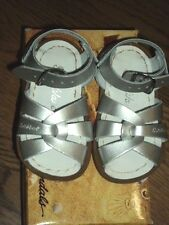 New Sun-san Salt Water original,silver metallic leather sandals, toddler 7,NIB