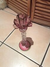 "A 12"" TALL GLASS FLOWER CANDLE HOLDER"