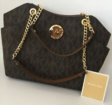 Michael Kors Jet Set MK Sig PVC LG Chain Shoulder Tote, BROWN Saff Lthr,nwt