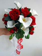 Wedding Posy Bouquet - Ivory Calla Lillies, Deep Red Roses