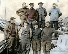 "CAPTAIN ROALD AMUNDSEN & CREW ON BOARD THE GJOA 8x10"" HAND COLOR TINTED PHOTO"
