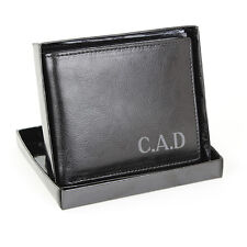 Personalised Black Leather Wallet - Free Personalisation - Birthday,Wedding Gift