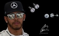 Men's/Boy's: Lewis Hamilton 18ct White Gold Plated Crystal Diamond Earrings