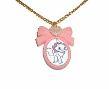 Marie Aristocats Necklace, Pastel Pink Cameo, Disney Gold Chain, Cute Kawaii